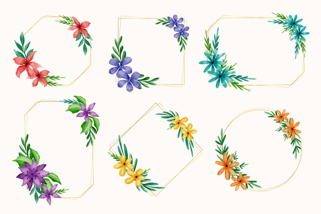 Collection of watercolor floral frame