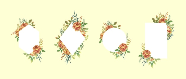Collection of watercolor flower frames