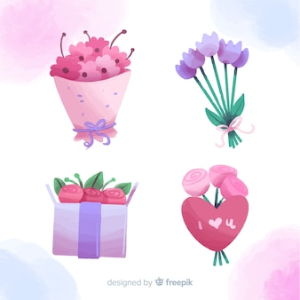 Collection of watercolor flowers for valentine