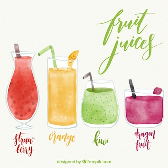 Collection of watercolor fruit juices