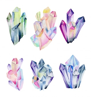 Collection of watercolor gem clusters