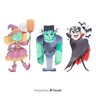 Collection of watercolor halloween characters