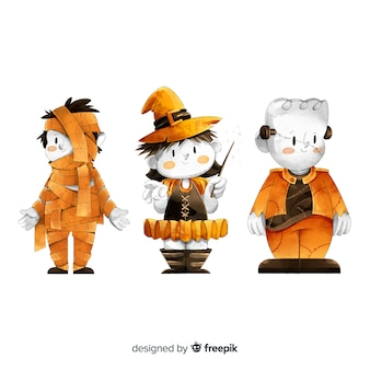Collection of watercolor halloween kid costumes