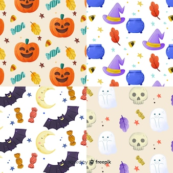 Collection of watercolor halloween pattern