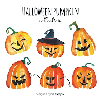 Collection of watercolor halloween pumpkin