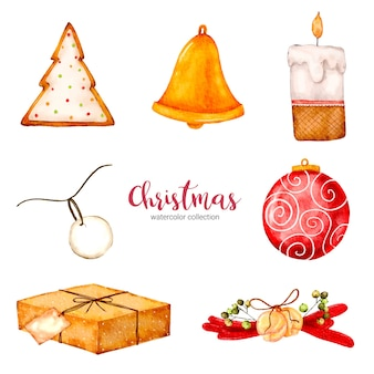 Collection of watercolor illustration of christmas decorations