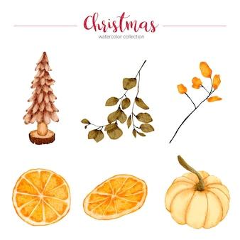 Raccolta di illustrazione ad acquerello di decorazioni natalizie