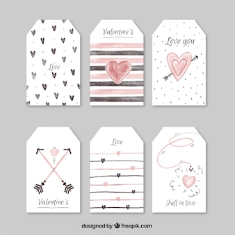 Collection of watercolor labels for valentine