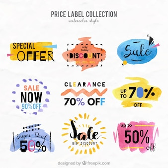 Collection of watercolor labels with special discounts