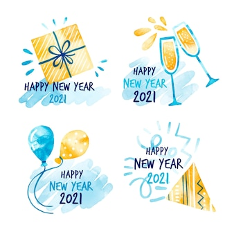 Collection of watercolor new year 2021 badges