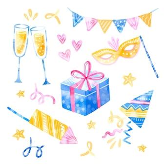 Raccolta di elementi del nuovo anno dell'acquerello