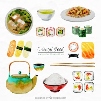 Collection of watercolor oriental food