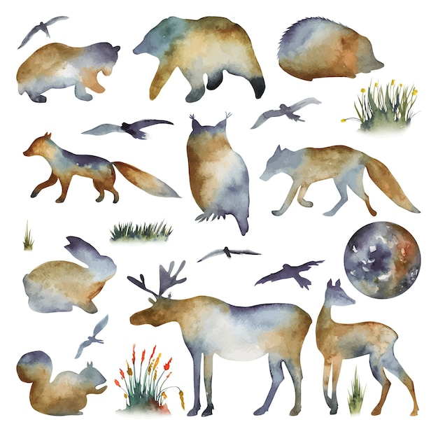 Collection of watercolor silhouettes of forest animals bear owl fox wolf deer hare birds hedgehog squirrel elk