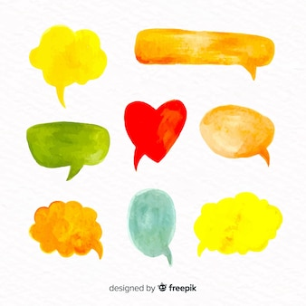 Collection of watercolor speech balloons with different shapes