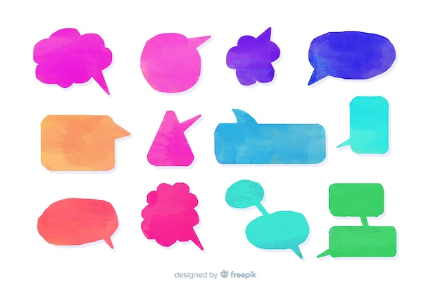 Collection of watercolor speech balloons