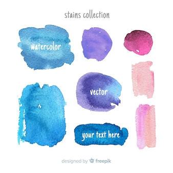 Collection of watercolor stains and brush strokes