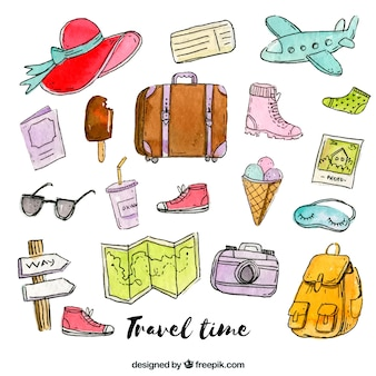 Collection of watercolor travel elements