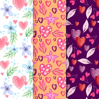 Collection of watercolor valentine's day pattern