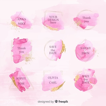 Collection of watercolor wedding badges