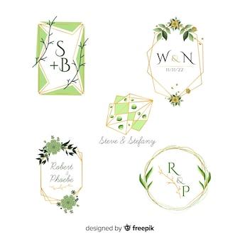 Collection of watercolor wedding frame logos