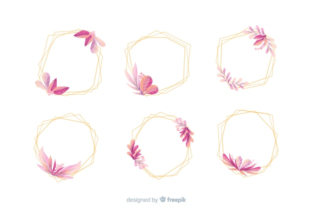 Collection of watercolor wedding frame logos