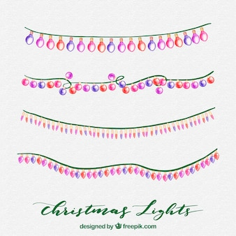 Collection of watercolour christmas lights
