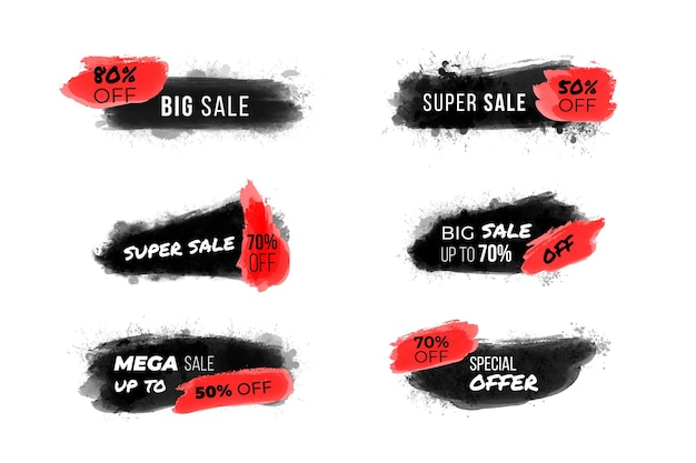 Raccolta di banner linea acquerello in vendita