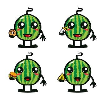 Коллекция арбузных наборов, держащих еду, векторная иллюстрация плоского мультяшного персонажа-талисмана