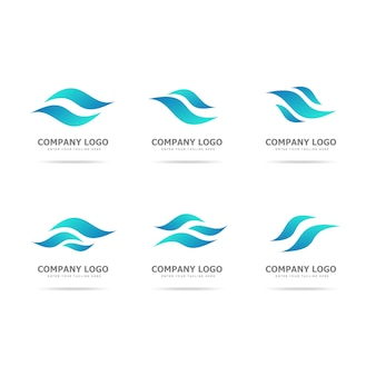 Collection of wave logo design template