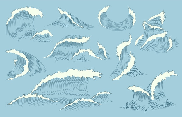 Collection of waves engraving. marine and nautical or ocean waves background