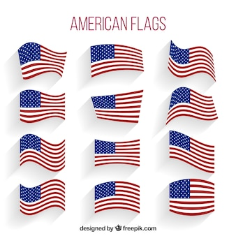 Collection of wavy american flags