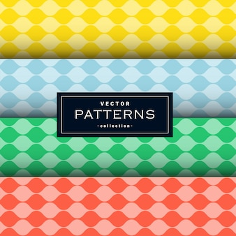 Collection of wavy lines pattern set in four colors