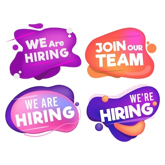 Collection of we are hiring banners in different fluid shapes