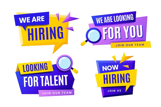 Collection of we are hiring banners with geometrical shapes