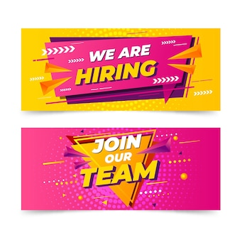 Collection of we are hiring horizontal banners
