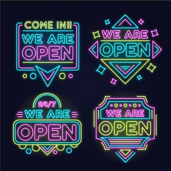 Collection of we are open neon signs