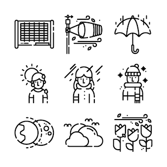 Collection of weather thin line icons