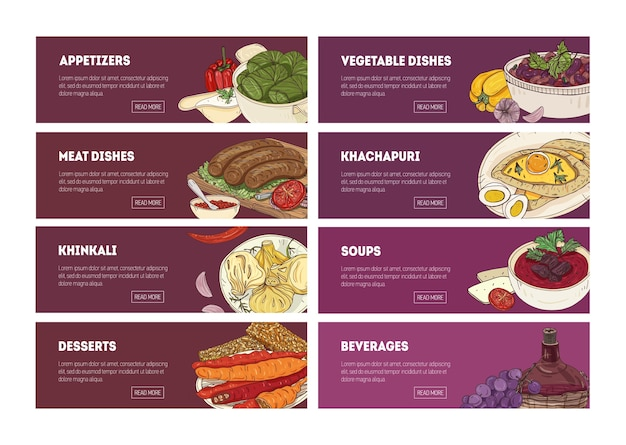 Collection of web banner templates with tasty appetizing georgian national meals