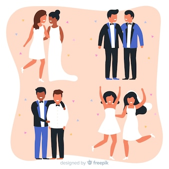 Collection of wedding couple in flat design
