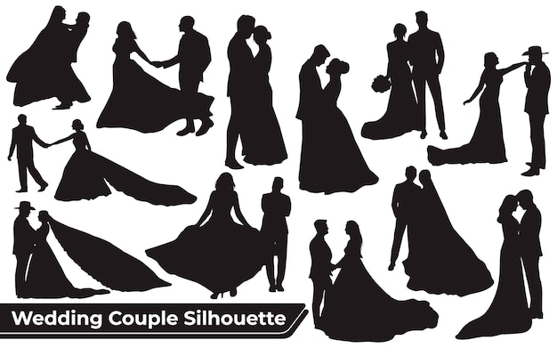 Collection of wedding couple silhouettes in different poses