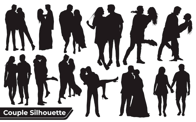 Collection of wedding dance silhouettes in different poses