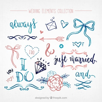 Collection of wedding elements painted with watercolor
