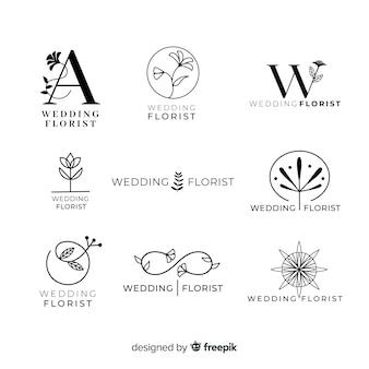 Collection of wedding florist logos Premium Vector