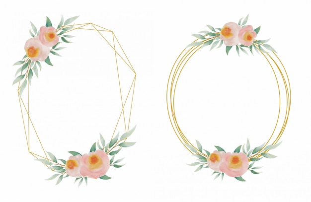 Collection of wedding frames with gold lines and beautiful and elegant watercolor flower decorations