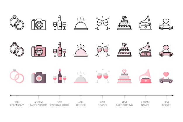 Collection of wedding icon