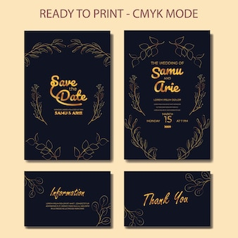 Collection of wedding invitation monoline flower mid century boho style