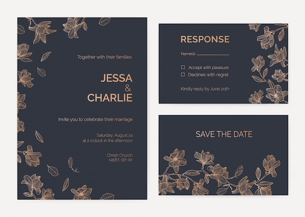 Collection of wedding invitation and response card templates decorated by magnolia tree branches with blooming flowers hand drawn with contour lines