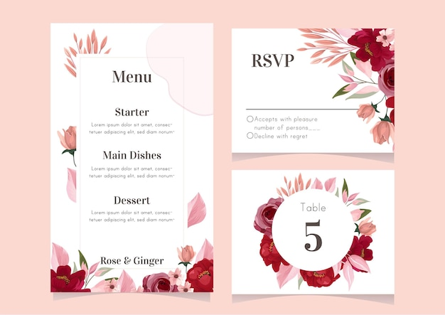 Collection of wedding menu template