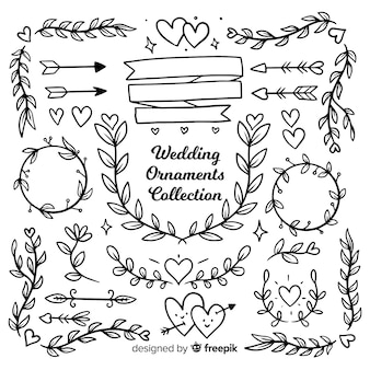Collection of wedding ornaments hand drawn