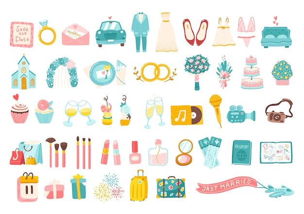 Collection of wedding related icons